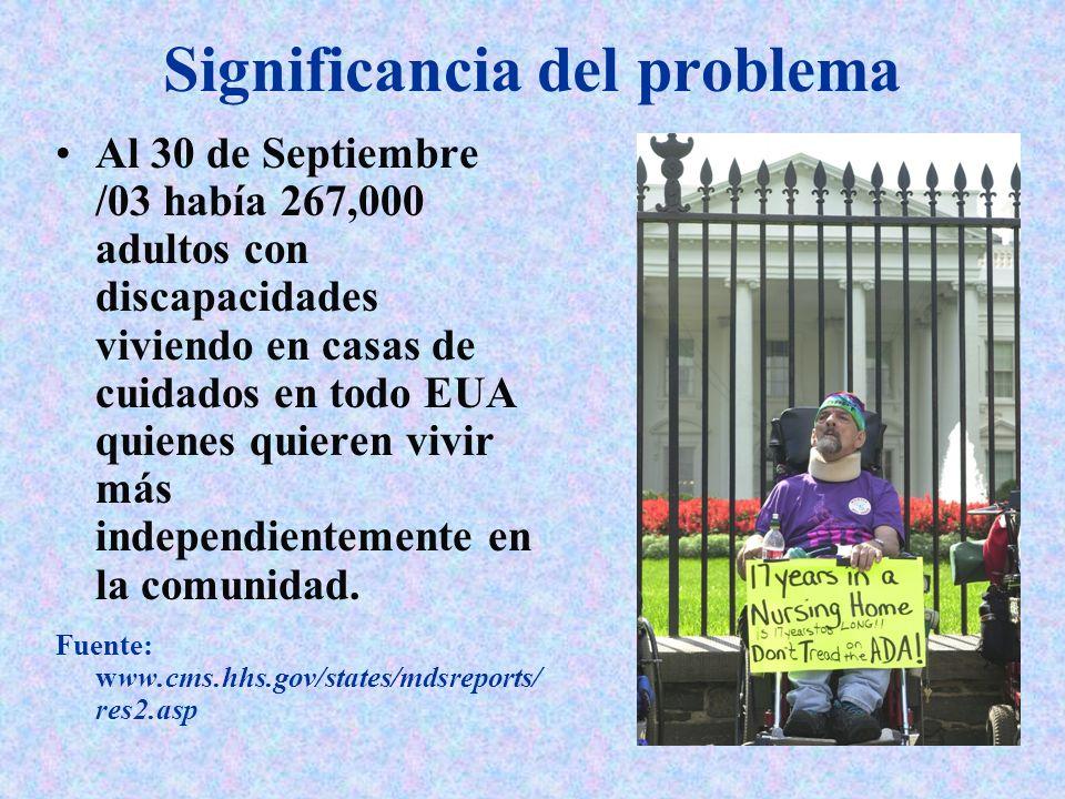 Significancia del problema Al 30 de Septiembre /03 había 267,000 adultos con discapacidades viviendo en casas de cuidados en todo EUA quienes quieren