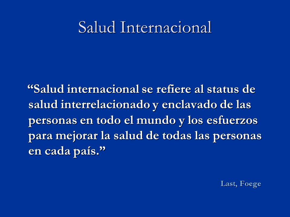 Salud Internacional Salud internacional se refiere al status de salud interrelacionado y enclavado de las personas en todo el mundo y los esfuerzos para mejorar la salud de todas las personas en cada país.