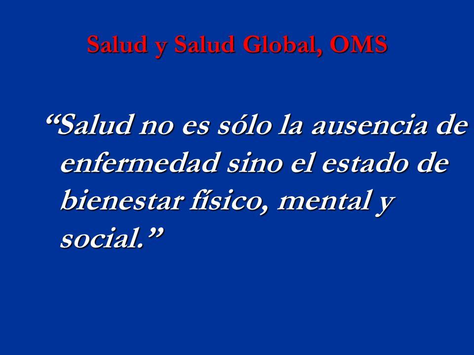 Salud y Salud Global, OMS Salud no es sólo la ausencia de enfermedad sino el estado de bienestar físico, mental y social.Salud no es sólo la ausencia de enfermedad sino el estado de bienestar físico, mental y social.