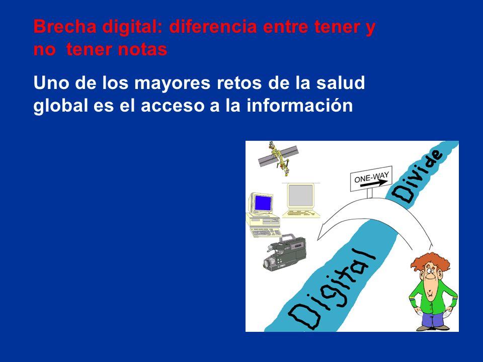Brecha digital: diferencia entre tener y no tener notas Uno de los mayores retos de la salud global es el acceso a la información