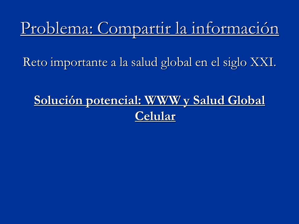 Problema: Compartir la información Reto importante a la salud global en el siglo XXI.