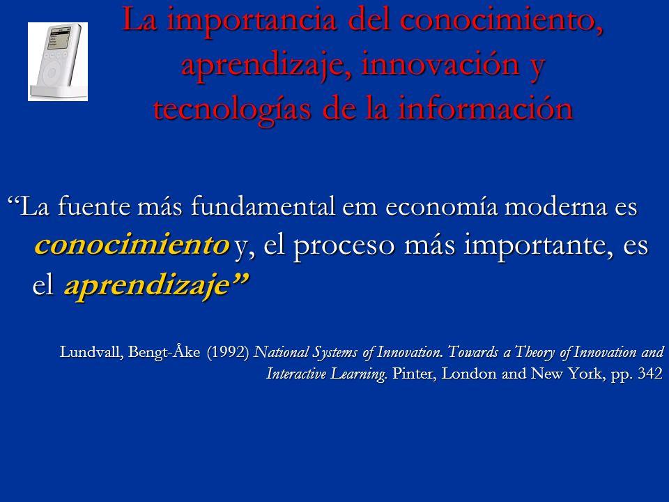 La importancia del conocimiento, aprendizaje, innovación y tecnologías de la información La fuente más fundamental em economía moderna es conocimiento y, el proceso más importante, es el aprendizajeLa fuente más fundamental em economía moderna es conocimiento y, el proceso más importante, es el aprendizaje Lundvall, Bengt-Åke (1992) National Systems of Innovation.