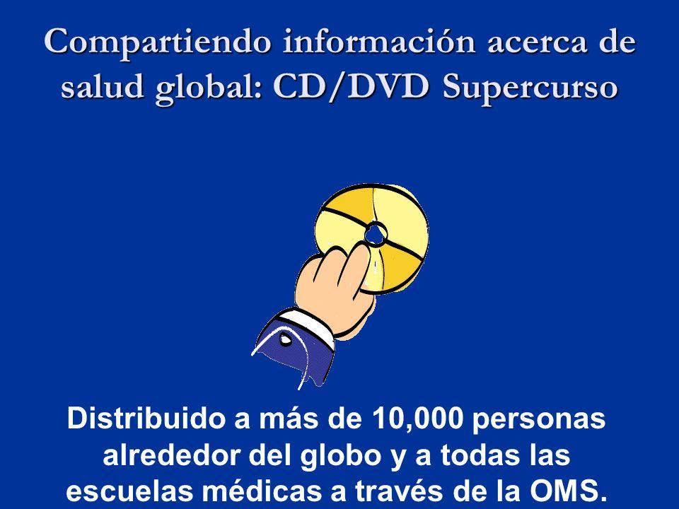 Compartiendo información acerca de salud global: CD/DVD Supercurso Distribuido a más de 10,000 personas alrededor del globo y a todas las escuelas médicas a través de la OMS.