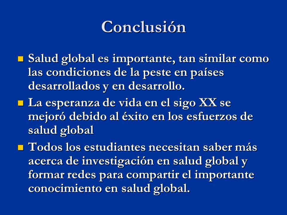 Conclusión Salud global es importante, tan similar como las condiciones de la peste en países desarrollados y en desarrollo.