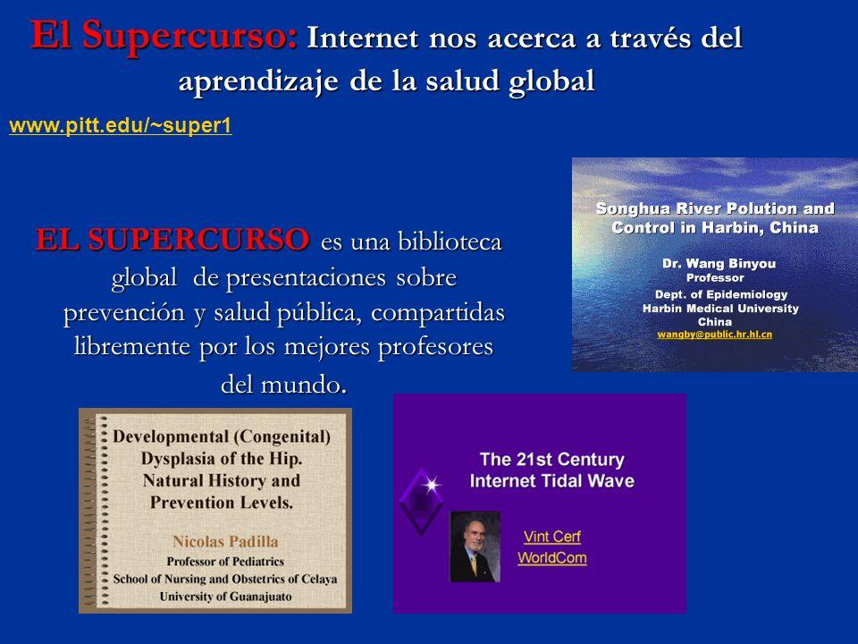 El Supercurso: Internet nos acerca a través del aprendizaje de la salud global EL SUPERCURSO es una biblioteca global de presentaciones sobre prevención y salud pública, compartidas libremente por los mejores profesores del mundo.