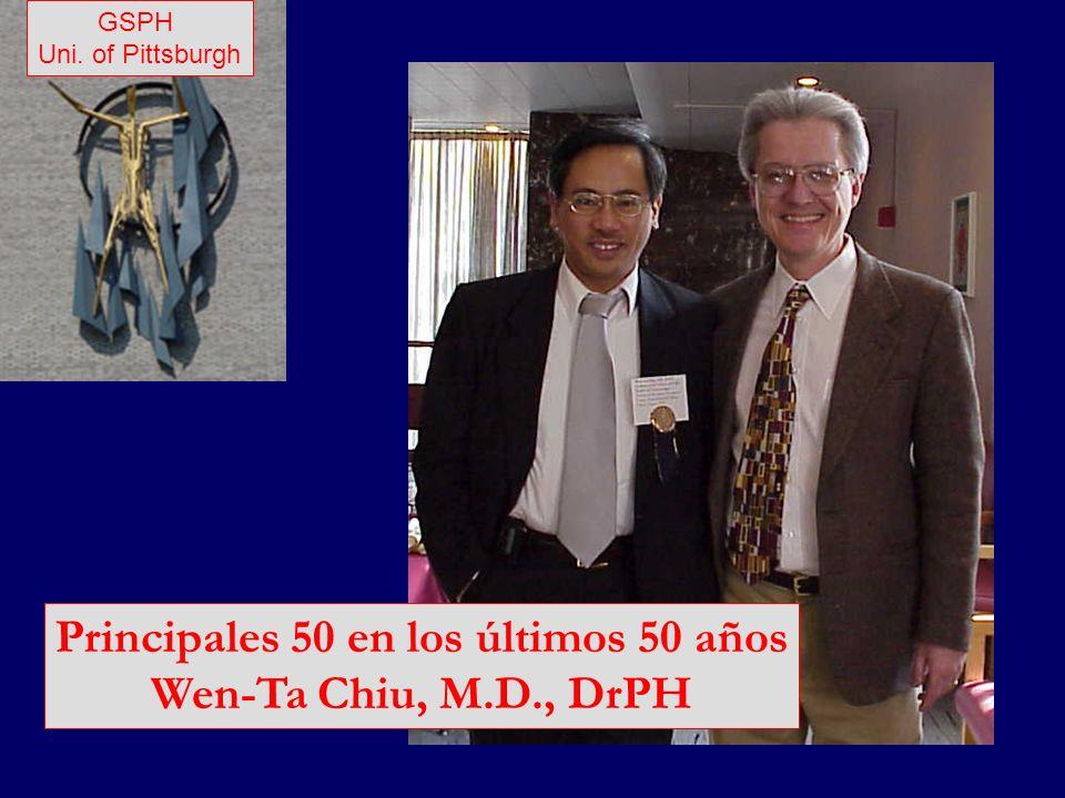 Principales 50 en los últimos 50 años Wen-Ta Chiu, M.D., DrPH GSPH Uni. of Pittsburgh