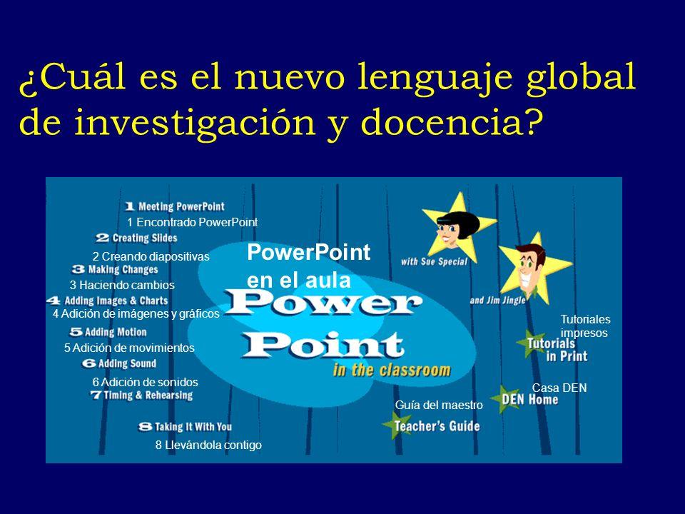¿Cuál es el nuevo lenguaje global de investigación y docencia? PowerPoint en el aula Tutoriales impresos Guía del maestro Casa DEN 8 Llevándola contig