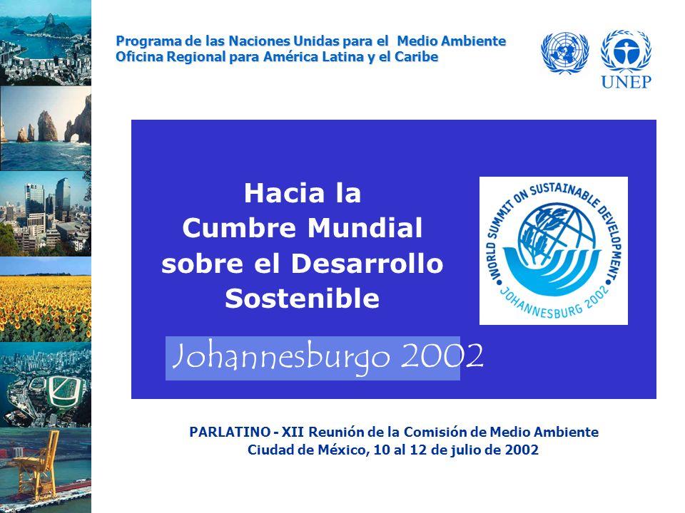 Hacia la Cumbre Mundial sobre el Desarrollo Sostenible Programa de las Naciones Unidas para el Medio Ambiente Oficina Regional para América Latina y el Caribe PARLATINO - XII Reunión de la Comisión de Medio Ambiente Ciudad de México, 10 al 12 de julio de 2002 Johannesburgo 2002