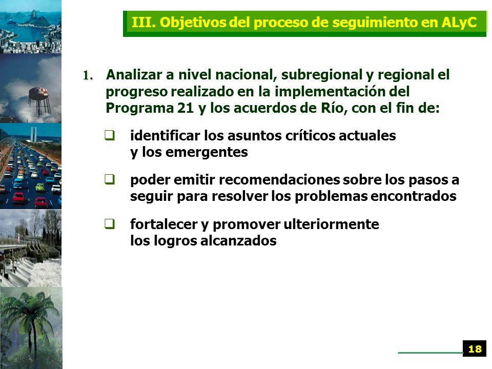 D. Realización de la Conferencia Regional Preparatoria de ALyC (continúa) Los elementos de la evaluación regional se centraron en las prioridades regi