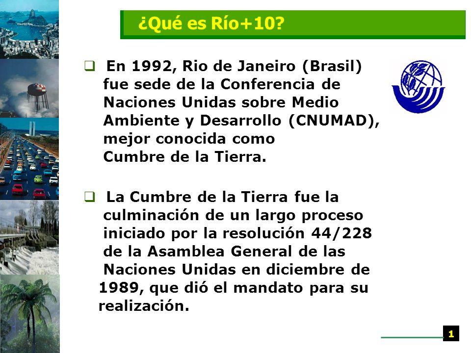 En 1992, Rio de Janeiro (Brasil) fue sede de la Conferencia de Naciones Unidas sobre Medio Ambiente y Desarrollo (CNUMAD), mejor conocida como Cumbre de la Tierra.