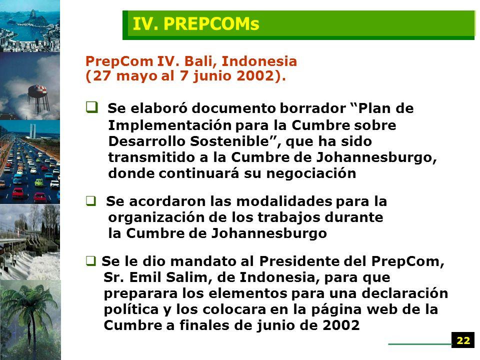 PrepCom III. Nueva York (25 marzo al 5 abril 2002) Se discutió sobre documento informal relativo a la gobernabilidad para el desarrollo sostenible Se