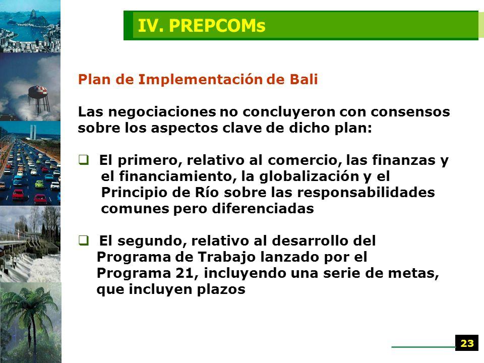PrepCom IV. Bali, Indonesia (27 mayo al 7 junio 2002). Se elaboró documento borrador Plan de Implementación para la Cumbre sobre Desarrollo Sostenible