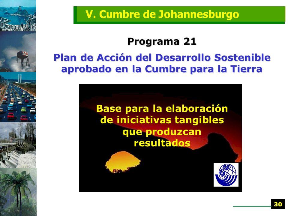 Programa 21 Plan de Acción del Desarrollo Sostenible aprobado en la Cumbre para la Tierra V. Cumbre de Johannesburgo sigue siendo un proyecto y guía p