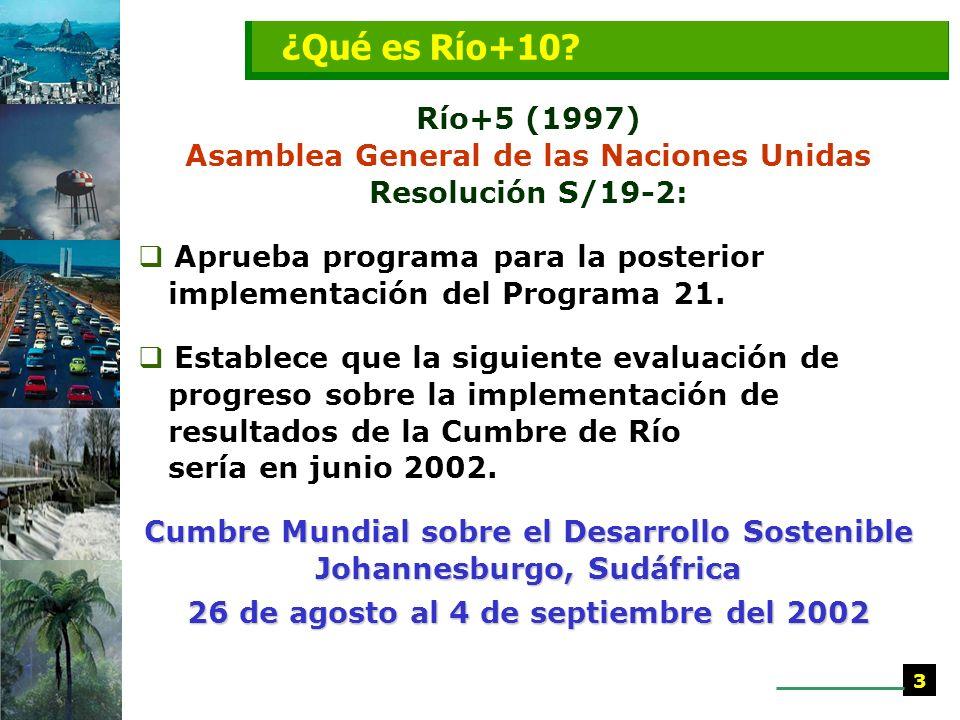 Río+5 (1997) Asamblea General de las Naciones Unidas Resolución S/19-2: Aprueba programa para la posterior implementación del Programa 21.