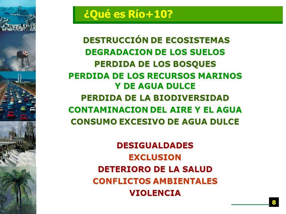 DESTRUCCIÓN DE ECOSISTEMAS DESTRUCCIÓN DE ECOSISTEMAS DEGRADACION DE LOS SUELOS PERDIDA DE LOS BOSQUES PERDIDA DE LOS RECURSOS MARINOS Y DE AGUA DULCE PERDIDA DE LA BIODIVERSIDAD CONTAMINACION DEL AIRE Y EL AGUA CONSUMO EXCESIVO DE AGUA DULCE DESIGUALDADESEXCLUSION DETERIORO DE LA SALUD CONFLICTOS AMBIENTALES VIOLENCIA 8 ¿Qué es Río+10?