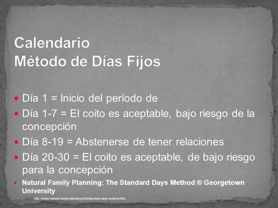 Día 1 = Inicio del período de Día 1-7 = El coito es aceptable, bajo riesgo de la concepción Día 8-19 = Abstenerse de tener relaciones Día 20-30 = El c