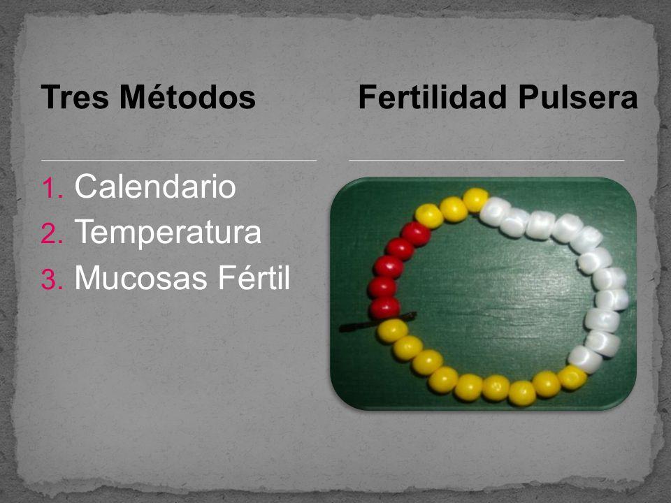 Tres Métodos 1. Calendario 2. Temperatura 3. Mucosas Fértil Fertilidad Pulsera