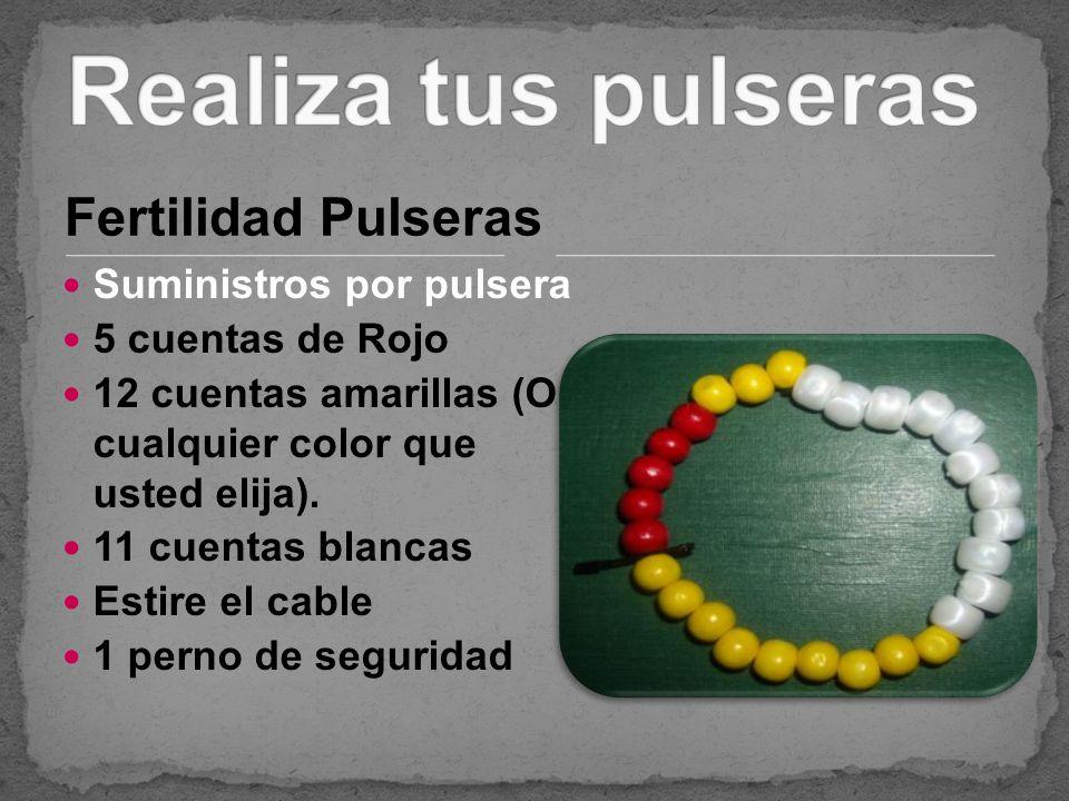Fertilidad Pulseras Suministros por pulsera 5 cuentas de Rojo 12 cuentas amarillas (O cualquier color que usted elija). 11 cuentas blancas Estire el c