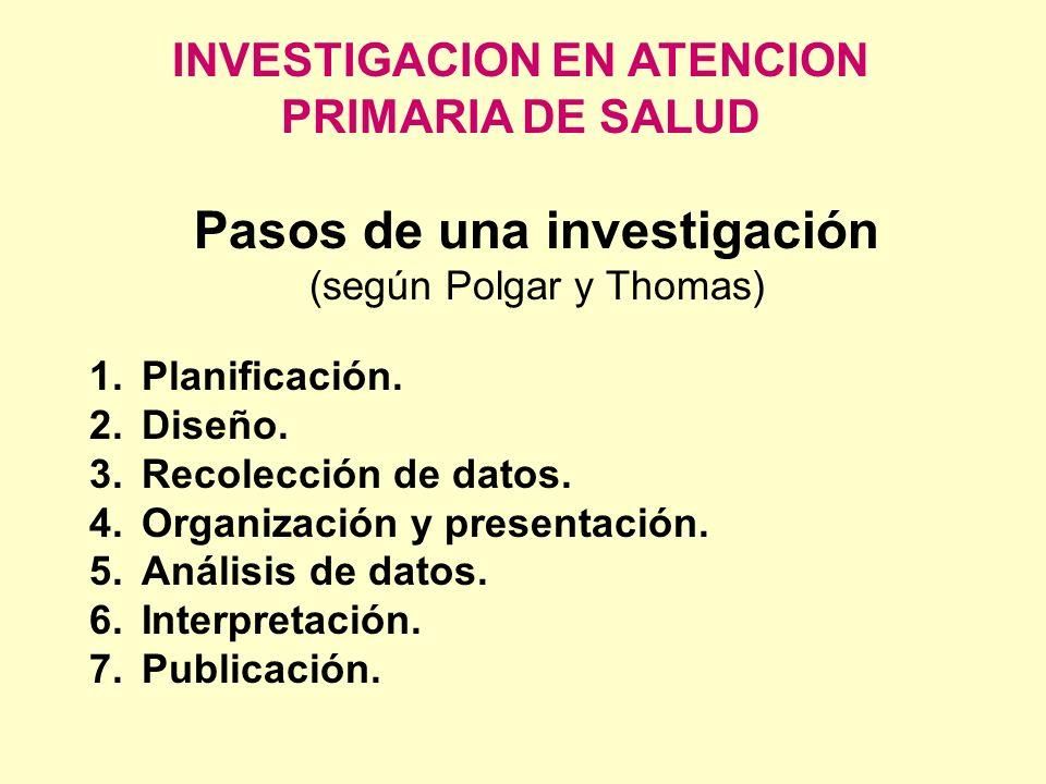 INVESTIGACION EN ATENCION PRIMARIA DE SALUD Pasos de una investigación (según Polgar y Thomas) 1.Planificación. 2.Diseño. 3.Recolección de datos. 4.Or