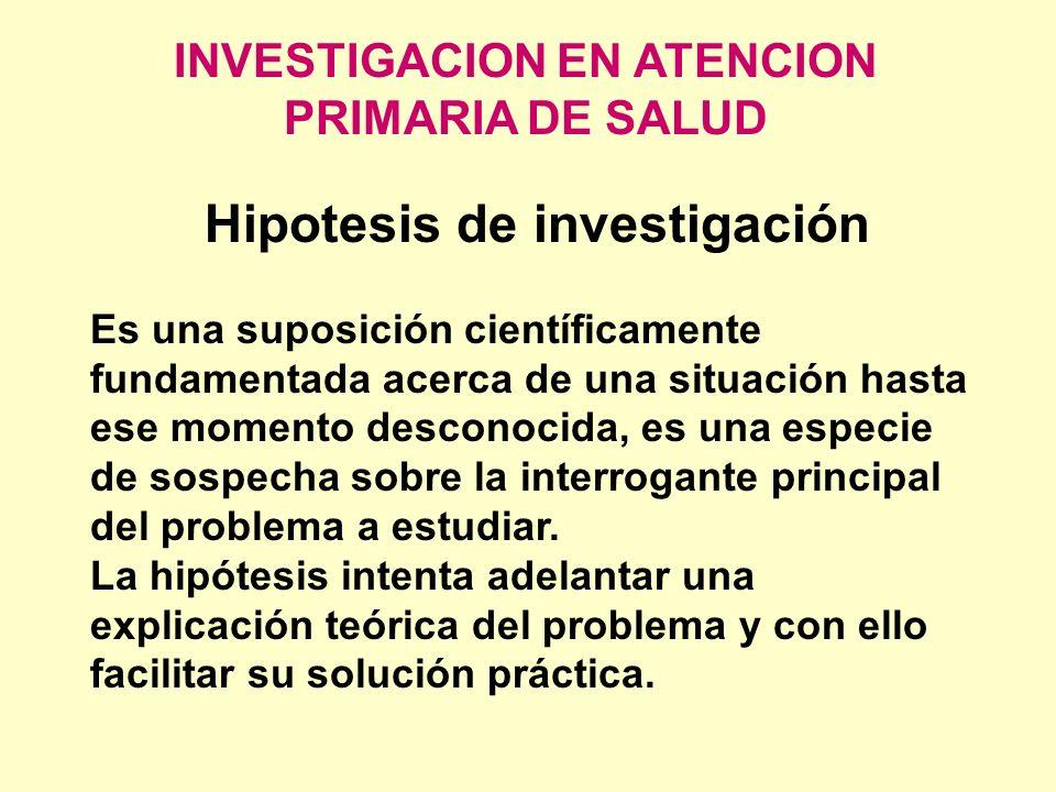 INVESTIGACION EN ATENCION PRIMARIA DE SALUD Hipotesis de investigación Es una suposición científicamente fundamentada acerca de una situación hasta es