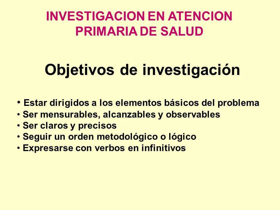INVESTIGACION EN ATENCION PRIMARIA DE SALUD Objetivos de investigación Estar dirigidos a los elementos básicos del problema Ser mensurables, alcanzabl