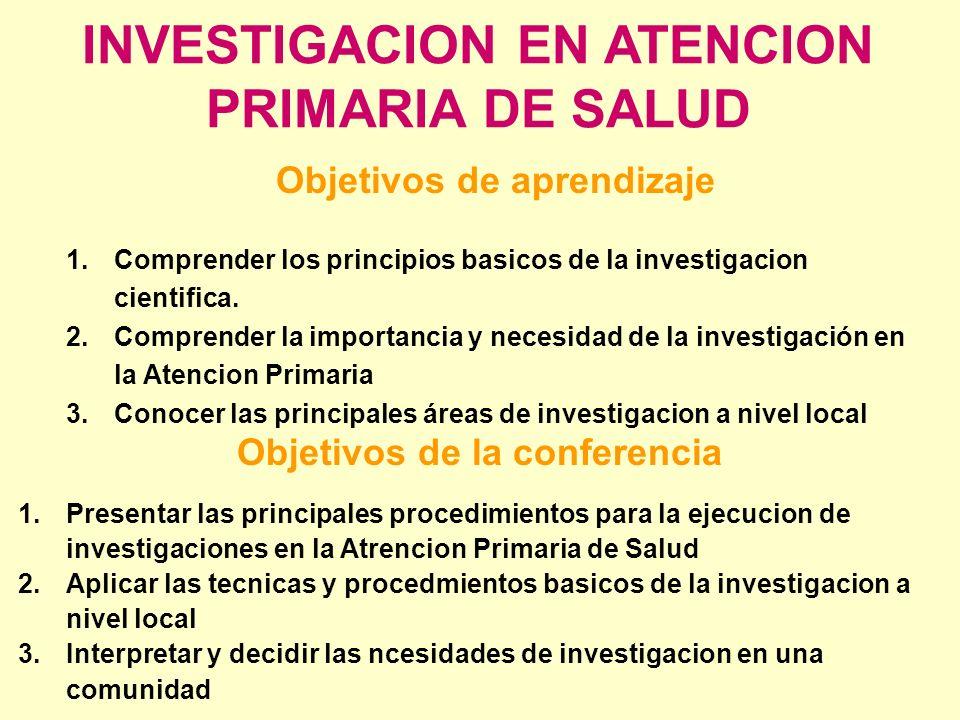 INVESTIGACION EN ATENCION PRIMARIA DE SALUD Objetivos de aprendizaje 1.Comprender los principios basicos de la investigacion cientifica. 2.Comprender