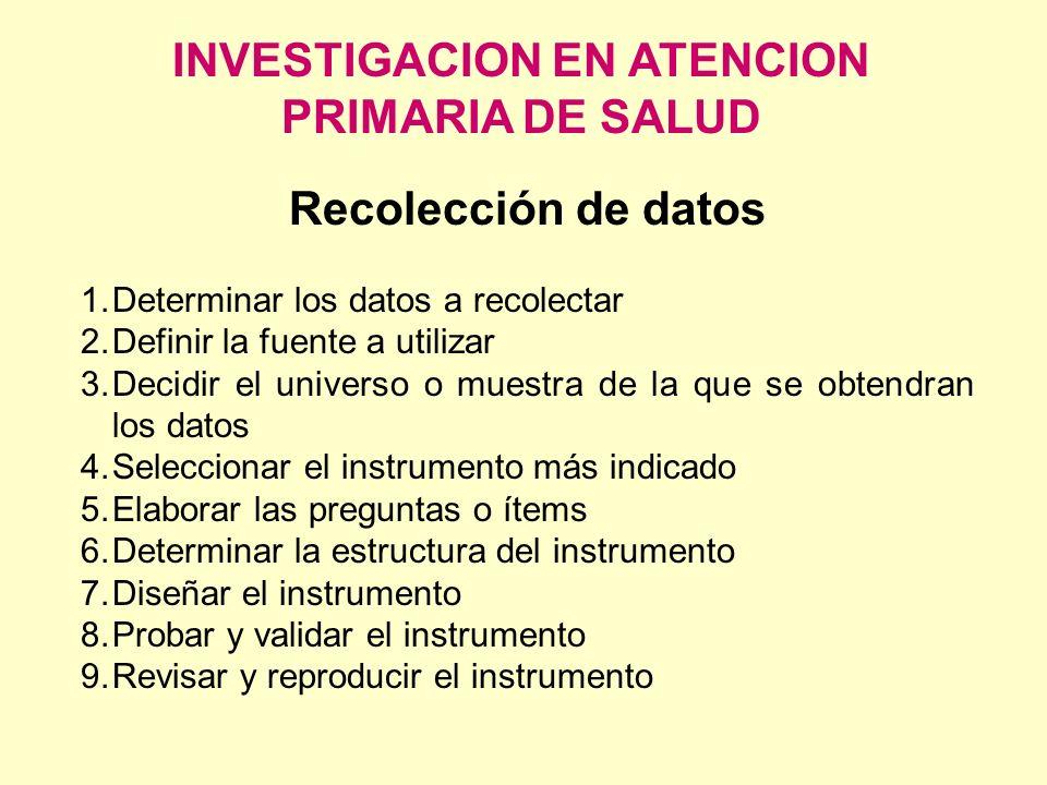 INVESTIGACION EN ATENCION PRIMARIA DE SALUD Recolección de datos 1.Determinar los datos a recolectar 2.Definir la fuente a utilizar 3.Decidir el unive