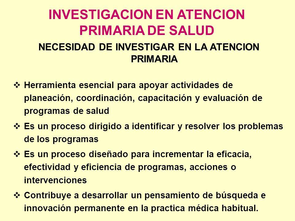 La investigación es un proceso continuo en 5 etapas: 1- Identificación y diagnóstico del problema 2- Selección de la estrategia 3- Experimentación y evaluación de la estrategia 4- Difusión de la información 5- Utilización de la información INVESTIGACION EN ATENCION PRIMARIA DE SALUD