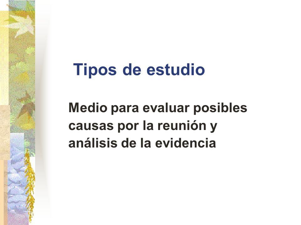 Tipos de estudio Medio para evaluar posibles causas por la reunión y análisis de la evidencia