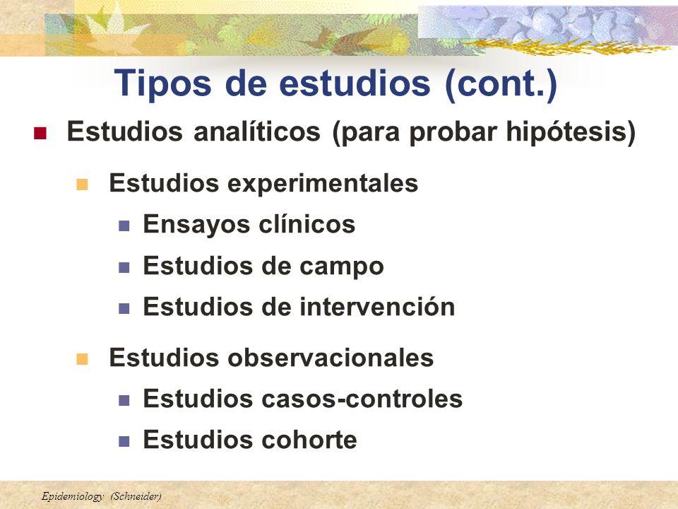 Epidemiology (Schneider) Tipos de estudios (cont.) Estudios analíticos (para probar hipótesis) Estudios experimentales Ensayos clínicos Estudios de ca