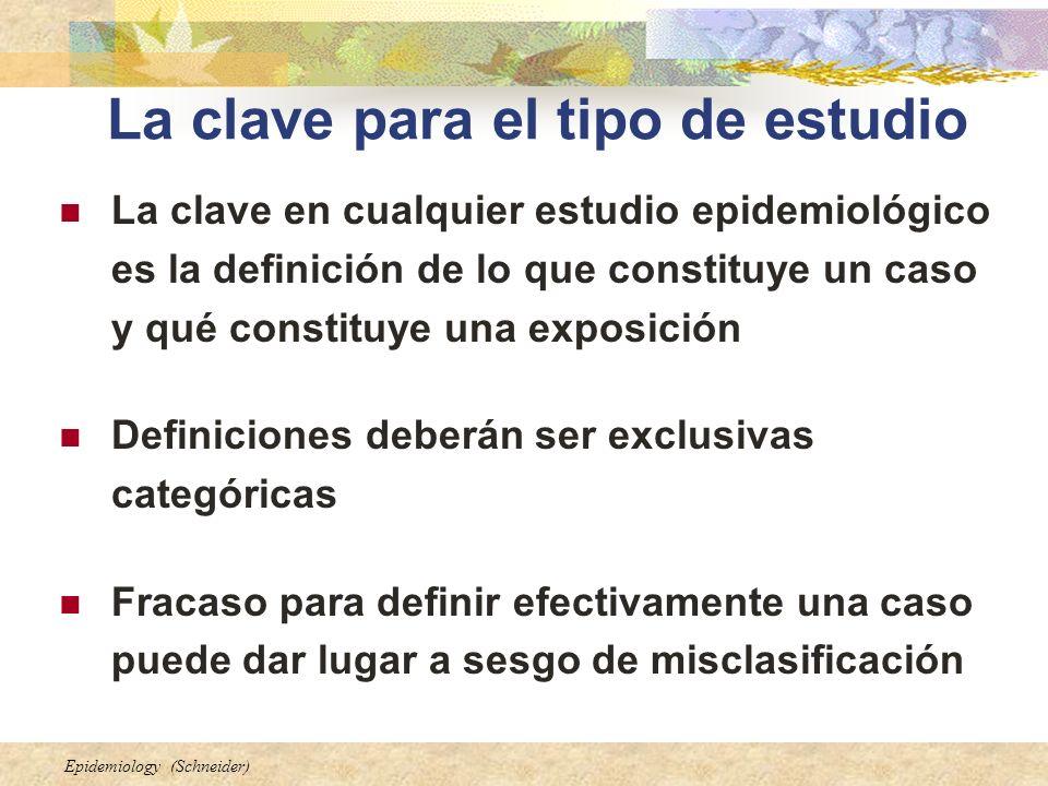 Epidemiology (Schneider) La clave para el tipo de estudio La clave en cualquier estudio epidemiológico es la definición de lo que constituye un caso y