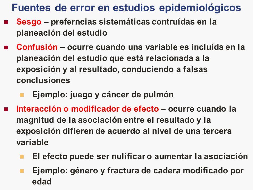 Sesgo – preferncias sistemáticas contruídas en la planeación del estudio Confusión – ocurre cuando una variable es incluída en la planeación del estud