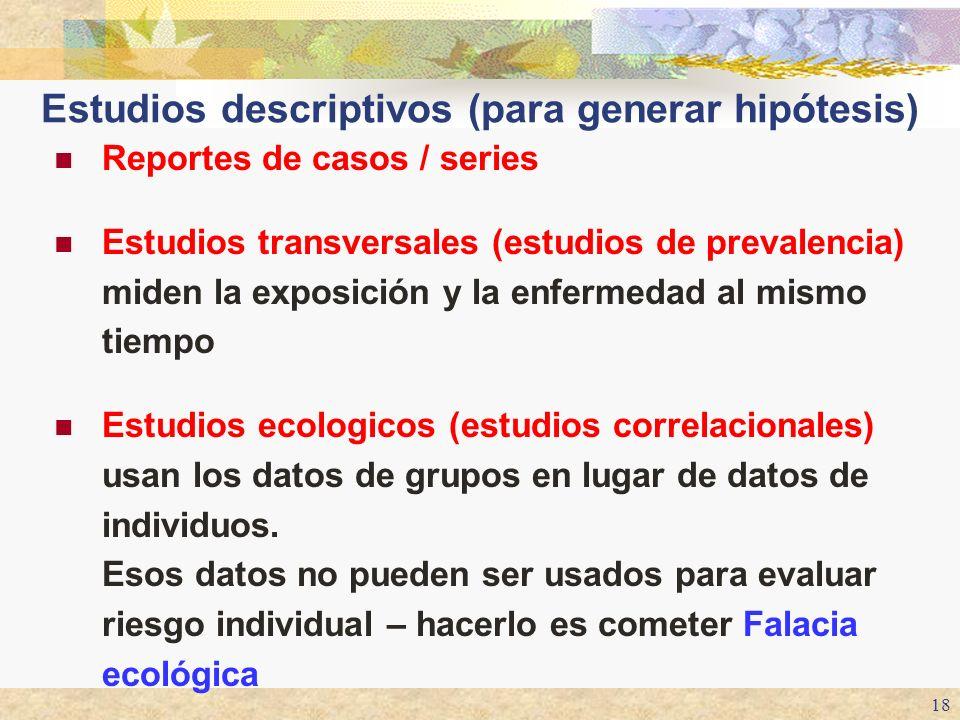 18 Estudios descriptivos (para generar hipótesis) Reportes de casos / series Estudios transversales (estudios de prevalencia) miden la exposición y la