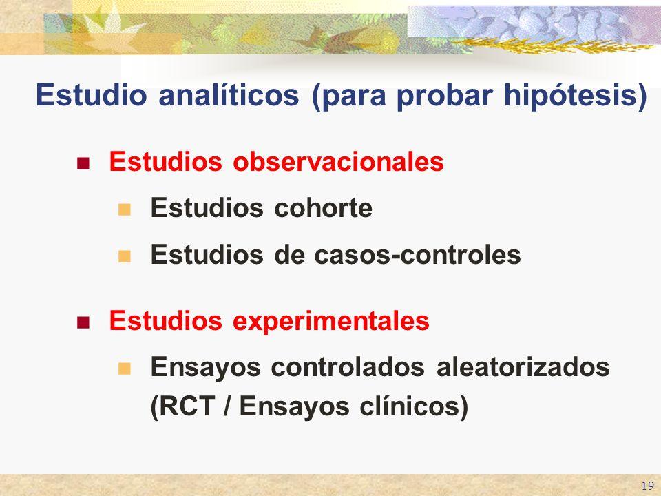 19 Estudios observacionales Estudios cohorte Estudios de casos-controles Estudios experimentales Ensayos controlados aleatorizados (RCT / Ensayos clín