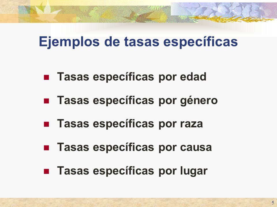 5 Tasas específicas por edad Tasas específicas por género Tasas específicas por raza Tasas específicas por causa Tasas específicas por lugar Ejemplos