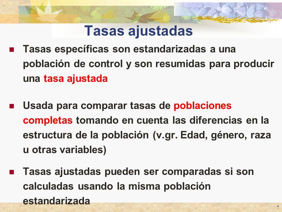 7 Tasas ajustadas Tasas específicas son estandarizadas a una población de control y son resumidas para producir una tasa ajustada Usada para comparar
