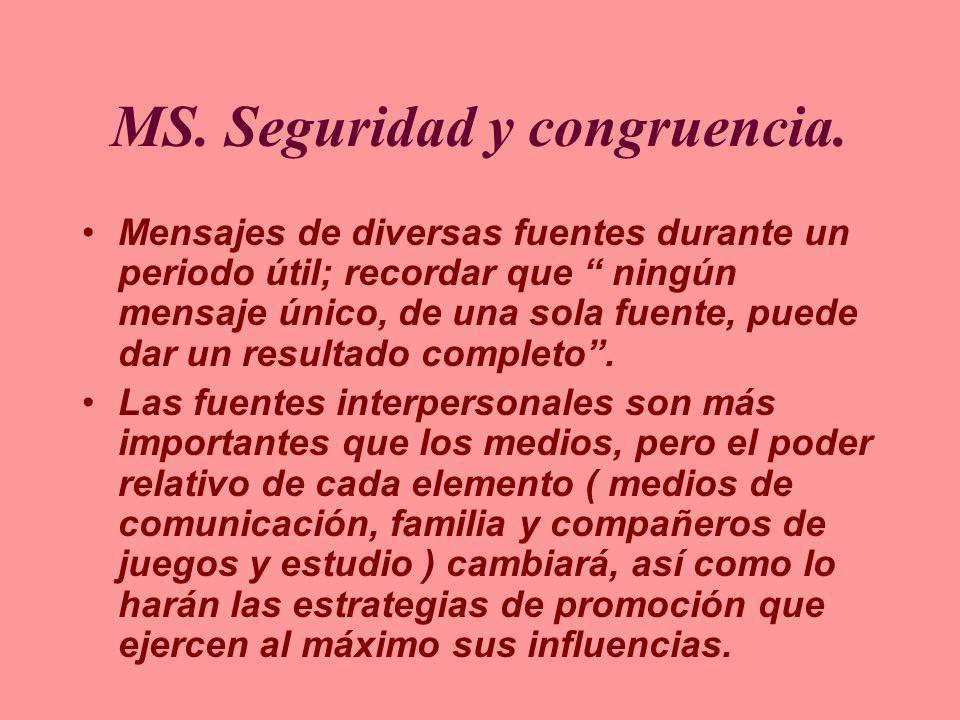 MS. Seguridad y congruencia. Mensajes de diversas fuentes durante un periodo útil; recordar que ningún mensaje único, de una sola fuente, puede dar un