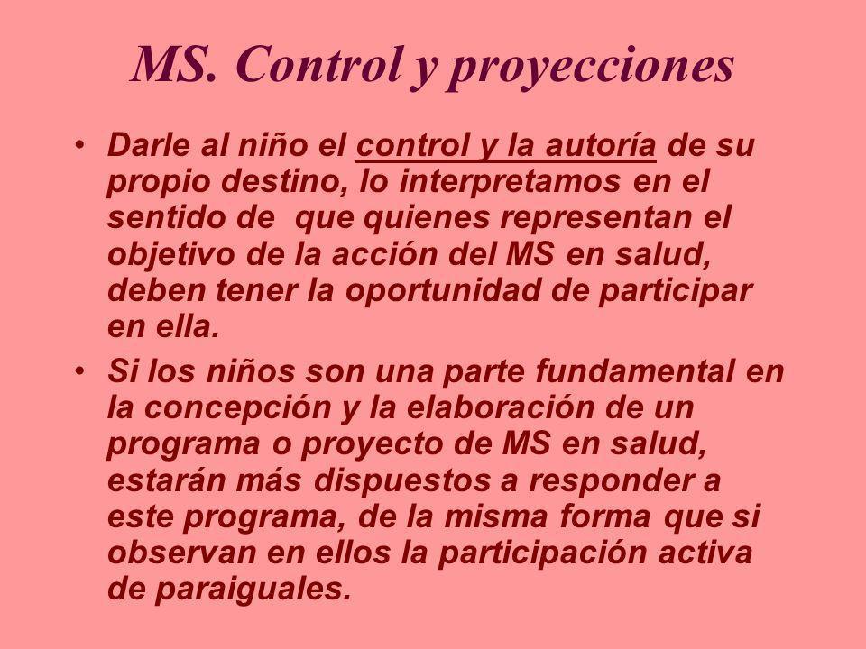 MS. Control y proyecciones Darle al niño el control y la autoría de su propio destino, lo interpretamos en el sentido de que quienes representan el ob