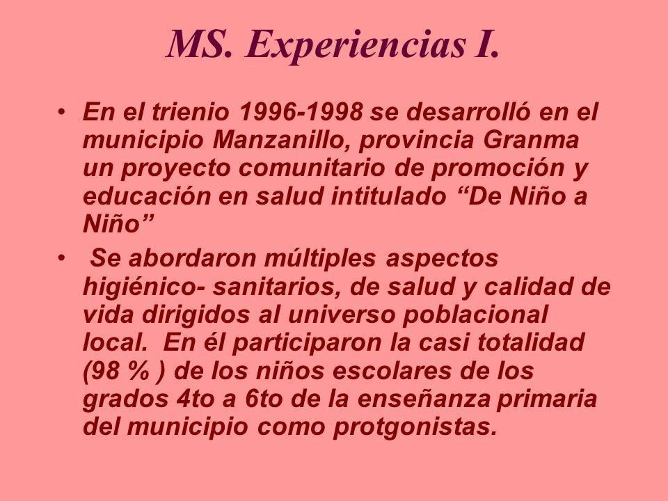 MS. Experiencias I. En el trienio 1996-1998 se desarrolló en el municipio Manzanillo, provincia Granma un proyecto comunitario de promoción y educació