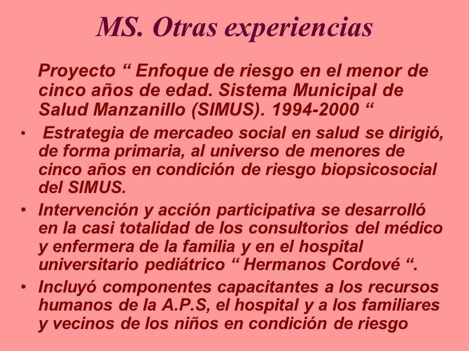 MS. Otras experiencias Proyecto Enfoque de riesgo en el menor de cinco años de edad. Sistema Municipal de Salud Manzanillo (SIMUS). 1994-2000 Estrateg