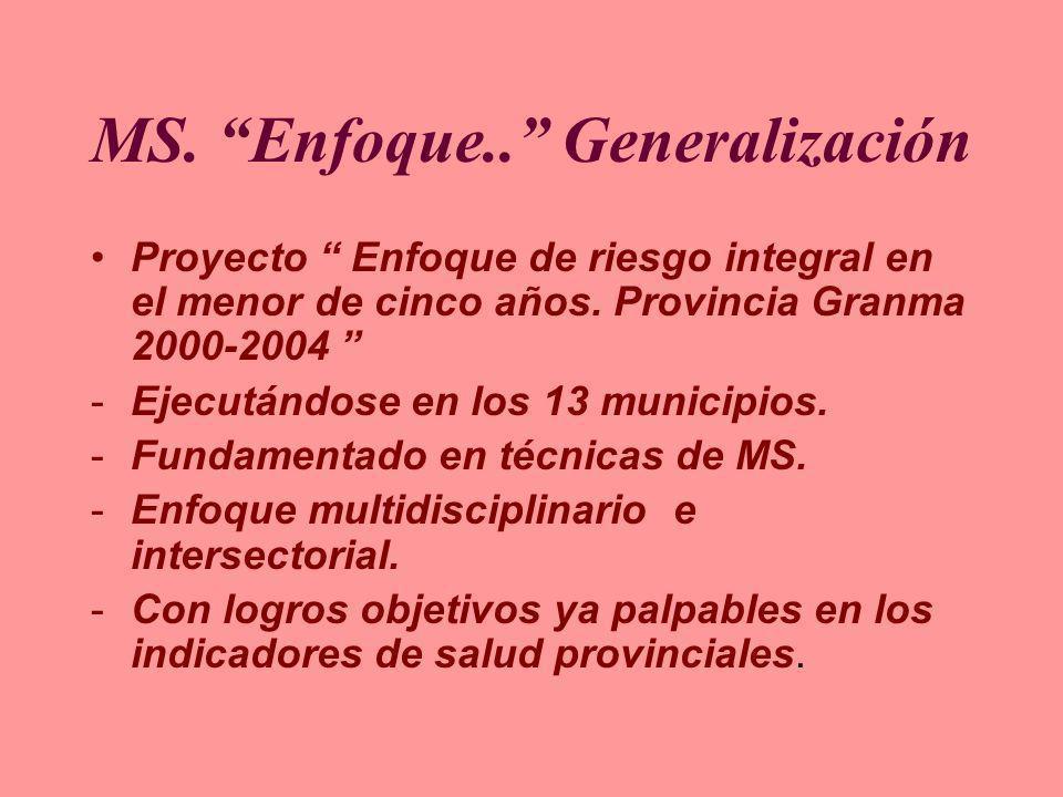 MS. Enfoque.. Generalización Proyecto Enfoque de riesgo integral en el menor de cinco años. Provincia Granma 2000-2004 -Ejecutándose en los 13 municip