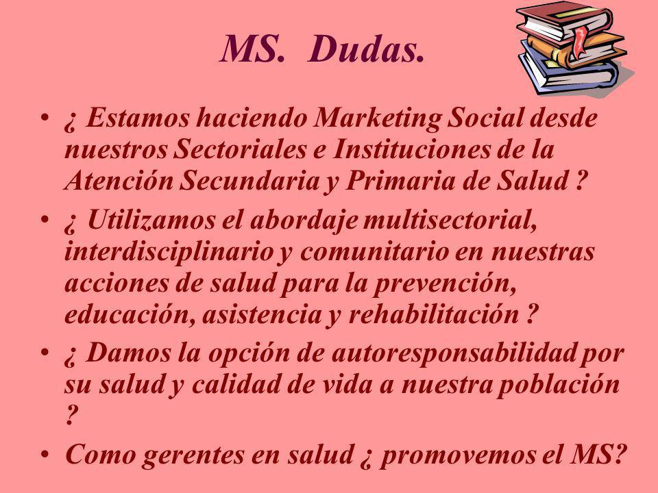 MS. Dudas. ¿ Estamos haciendo Marketing Social desde nuestros Sectoriales e Instituciones de la Atención Secundaria y Primaria de Salud ? ¿ Utilizamos