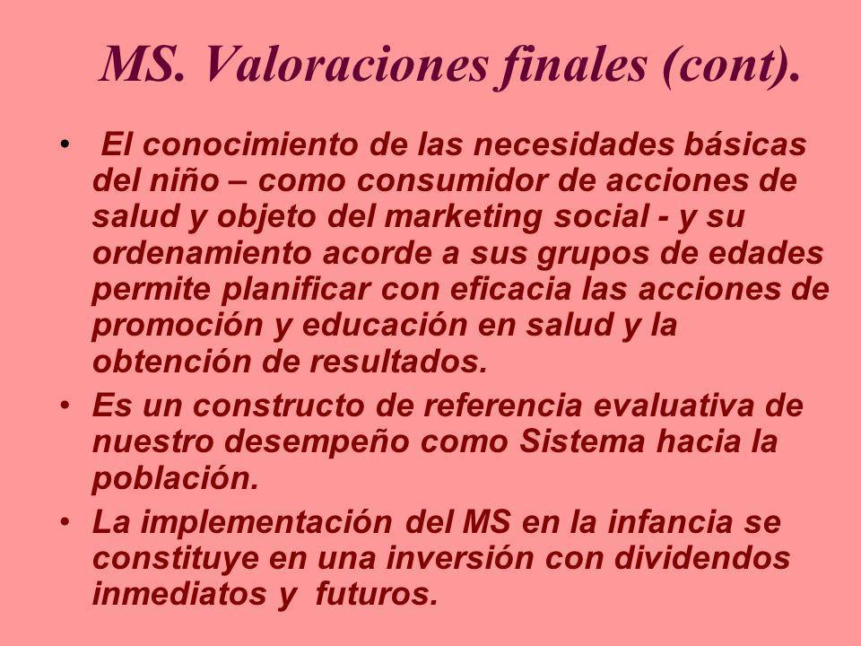 MS. Valoraciones finales (cont). El conocimiento de las necesidades básicas del niño – como consumidor de acciones de salud y objeto del marketing soc