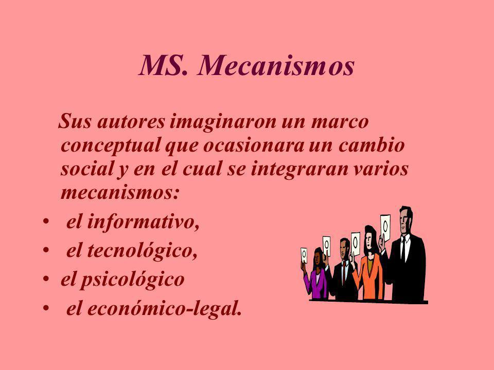 MS. Mecanismos Sus autores imaginaron un marco conceptual que ocasionara un cambio social y en el cual se integraran varios mecanismos: el informativo