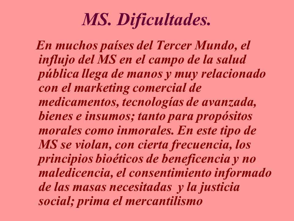 MS. Dificultades. En muchos países del Tercer Mundo, el influjo del MS en el campo de la salud pública llega de manos y muy relacionado con el marketi