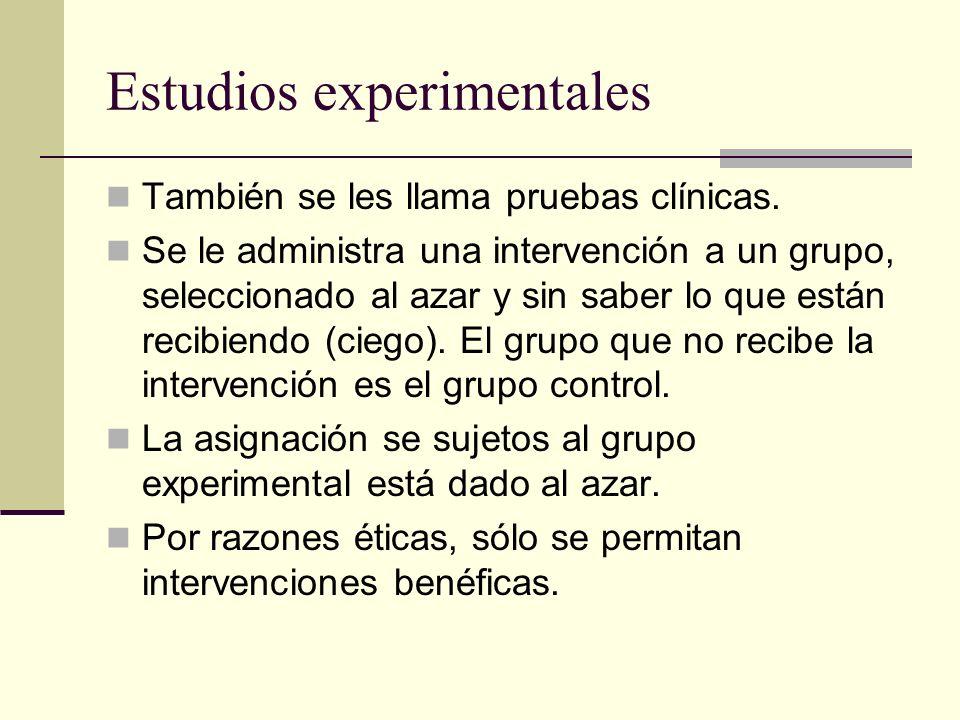 Estudios experimentales También se les llama pruebas clínicas. Se le administra una intervención a un grupo, seleccionado al azar y sin saber lo que e