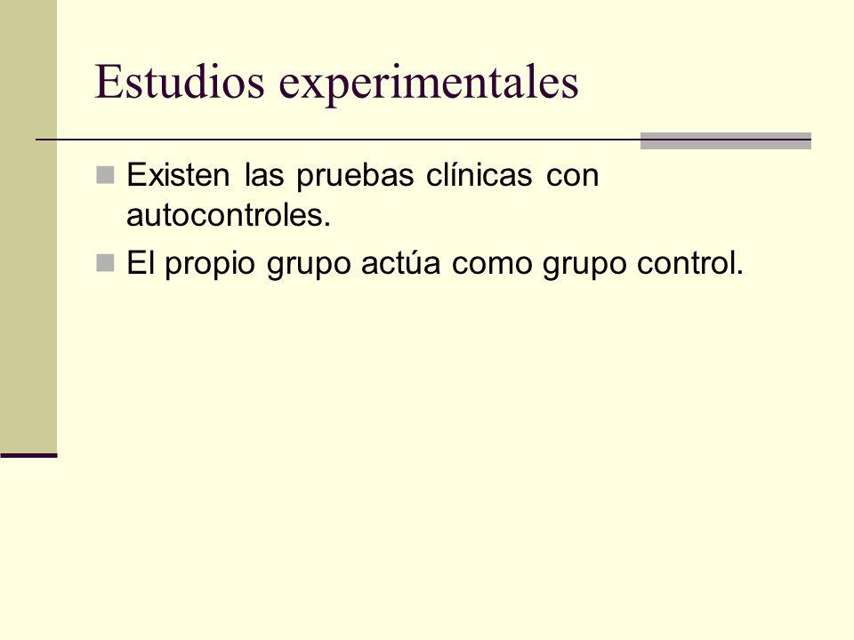 Estudios experimentales Existen las pruebas clínicas con autocontroles. El propio grupo actúa como grupo control.