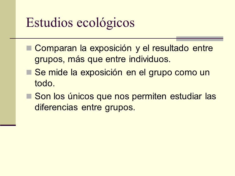 Estudios ecológicos Comparan la exposición y el resultado entre grupos, más que entre individuos. Se mide la exposición en el grupo como un todo. Son