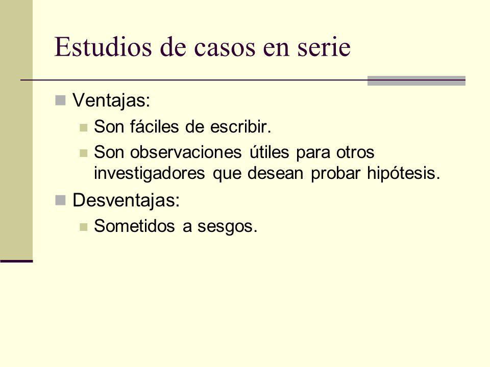 Estudios de casos en serie Ventajas: Son fáciles de escribir. Son observaciones útiles para otros investigadores que desean probar hipótesis. Desventa