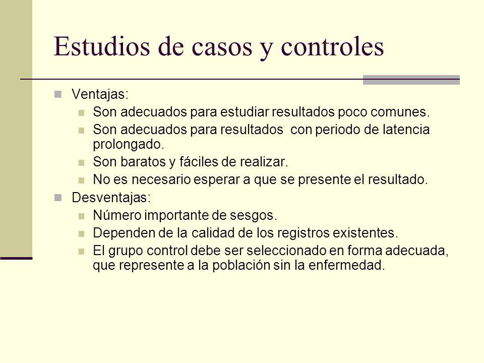 Estudios de casos y controles Ventajas: Son adecuados para estudiar resultados poco comunes. Son adecuados para resultados con periodo de latencia pro
